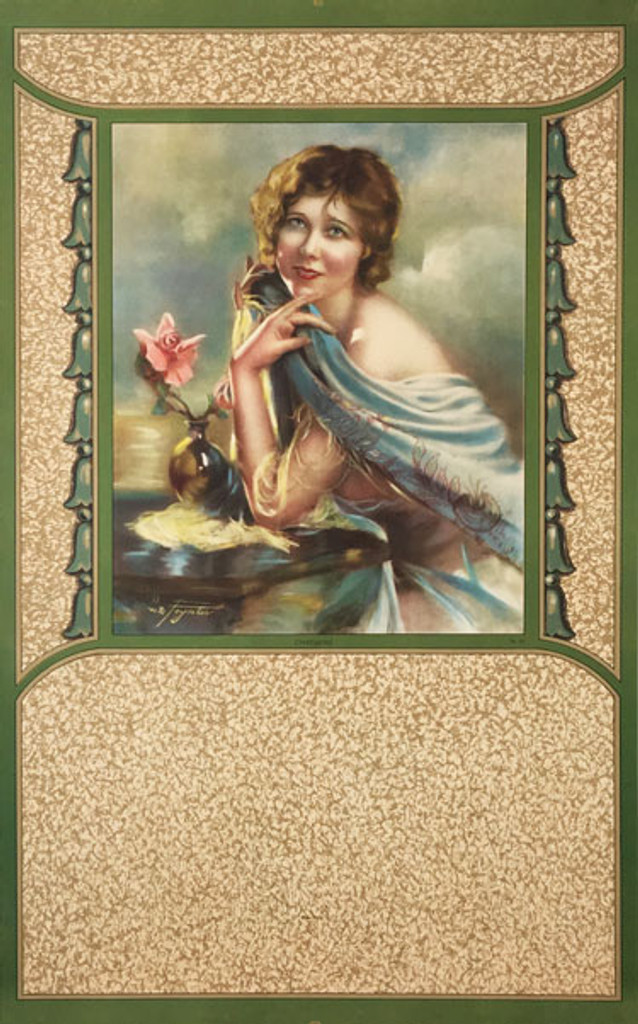 Charming original vintage poster from 1938 by W.B. Foyntes. American lithographic advertisement salesman calendar sample.