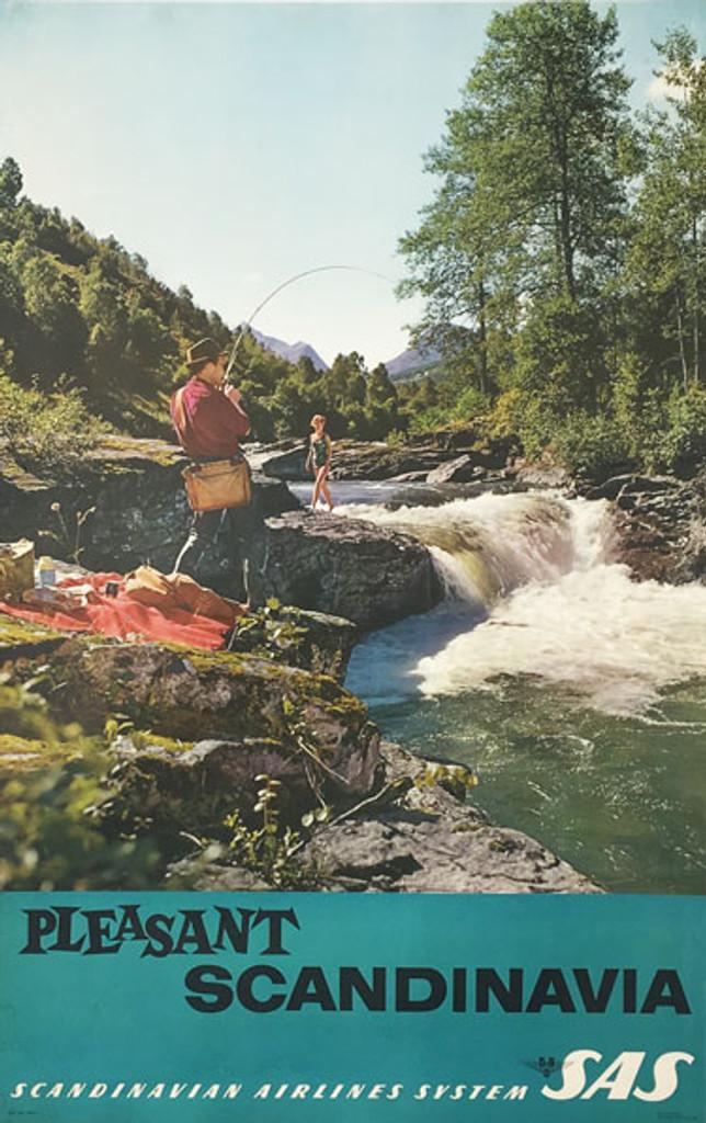 Pleasant Scandinavia SAS original vintage travel poster from 1960 Sweden. Swedish Photo Graveure Offset lithograph.