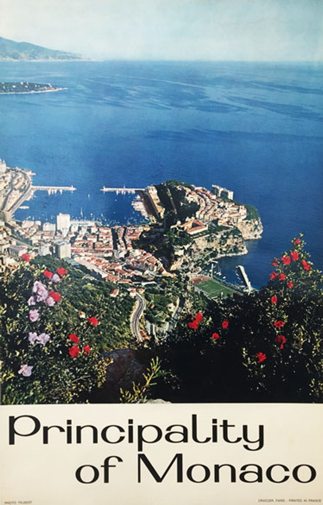 Principality of Monaco original vintage travel poster by Trubert from 1965 France.