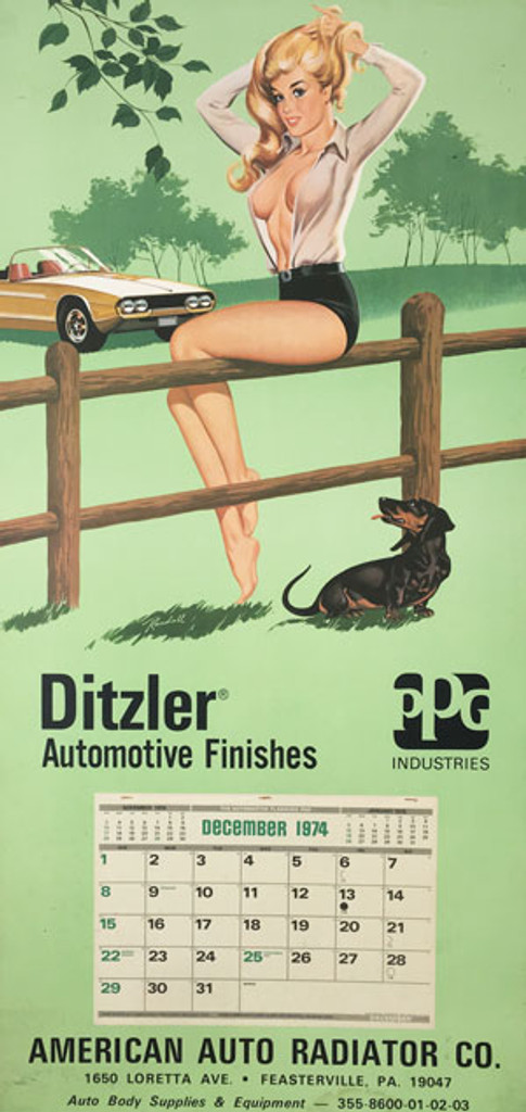 Ditzler Automotive Finishes American Auto Radiator original 1974 lithographic advertisement vintage poster by Randall.