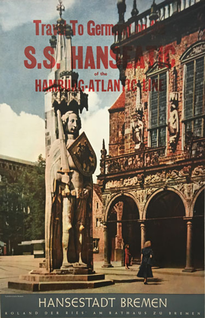 Germany by S S Hanseatic Hamburg Atlantic Line original 1958 vintage travel poster. German lithographic advertisement features Hansestadt Bremen Town Hall.