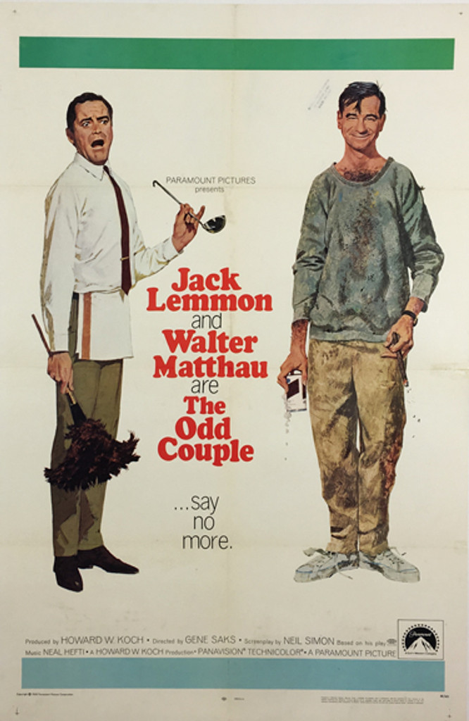 The Odd Couple original vintage theatrical movie poster form 1968 by Robert McGinnis with Jack Lemmon and Walter Matthau.