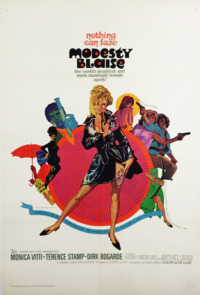 Modesty Blaise original American movie poster from 1966 by Bob Peak. English spy espionage crime comedy based on the comic strip by Peter O'Donnell