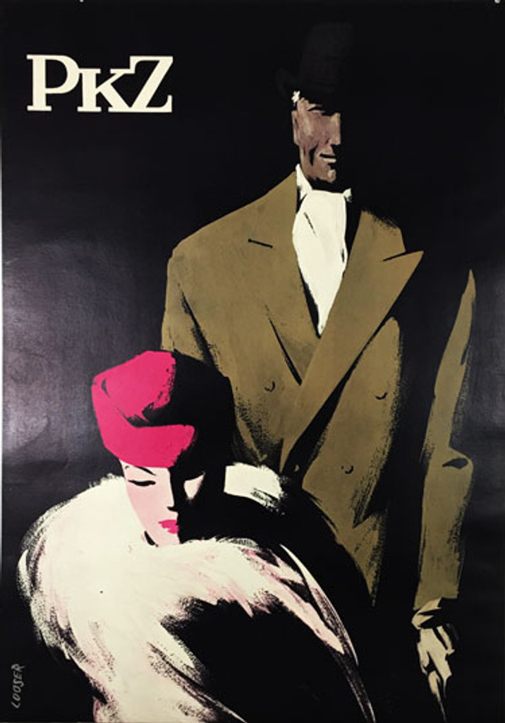 PKZ Swiss clothing advertisement original vintage poster from 1957 by Hans Looser.