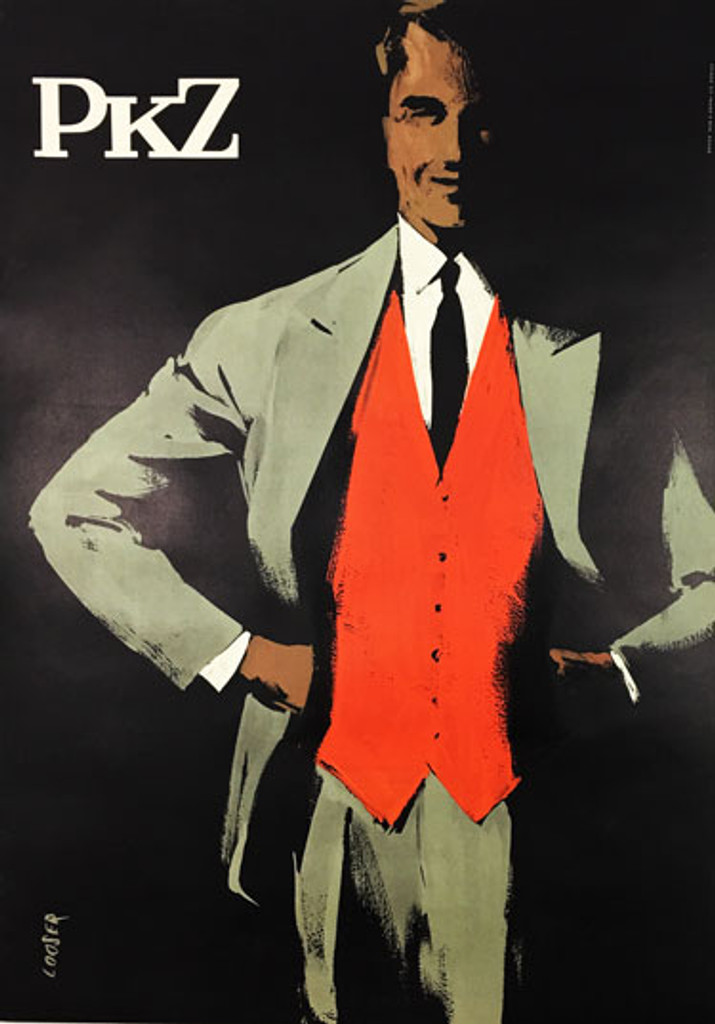 PKZ original vintage poster by Hans Looser from 1957 Switzerland. Swiss lithographic advertisement for mens clothing.