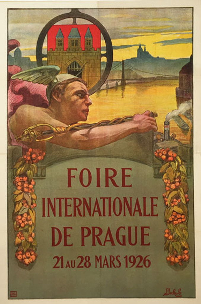 Foire Internationale De Prague original rare Exposition vintage poster from 1926 by artist F. Jakub.