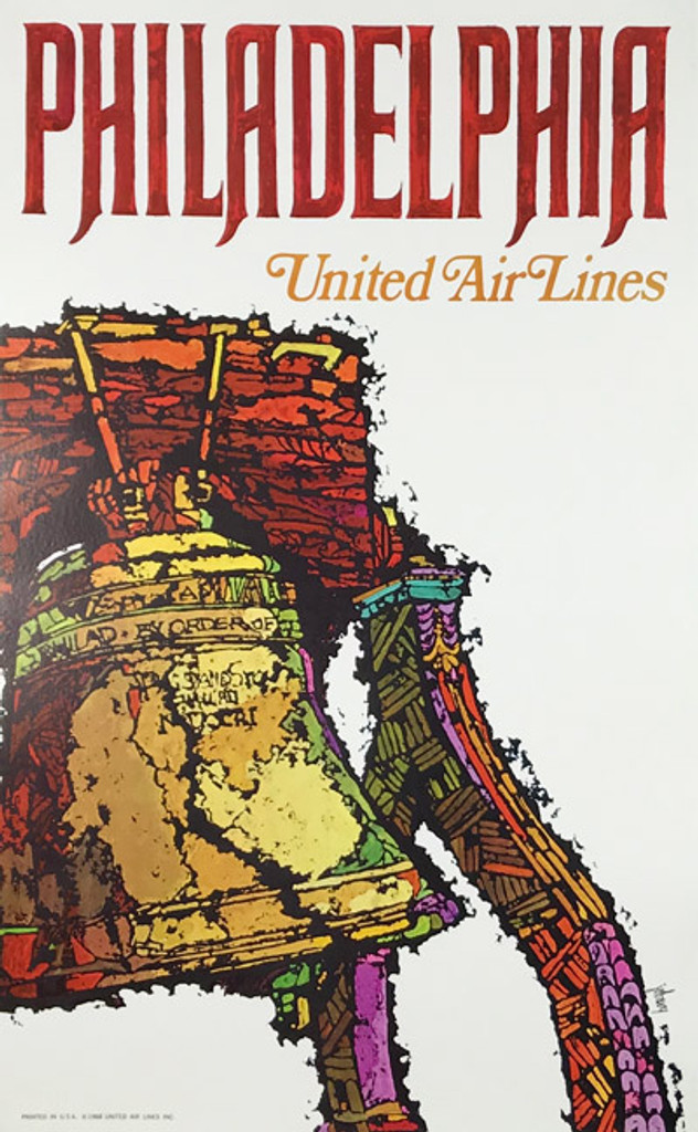 Philadelphia United Air Lines original vintage poster by Jebray from 1968. American lithographic travel advertisement features iconic symbol of American independence The Liberty Bell on a white background.