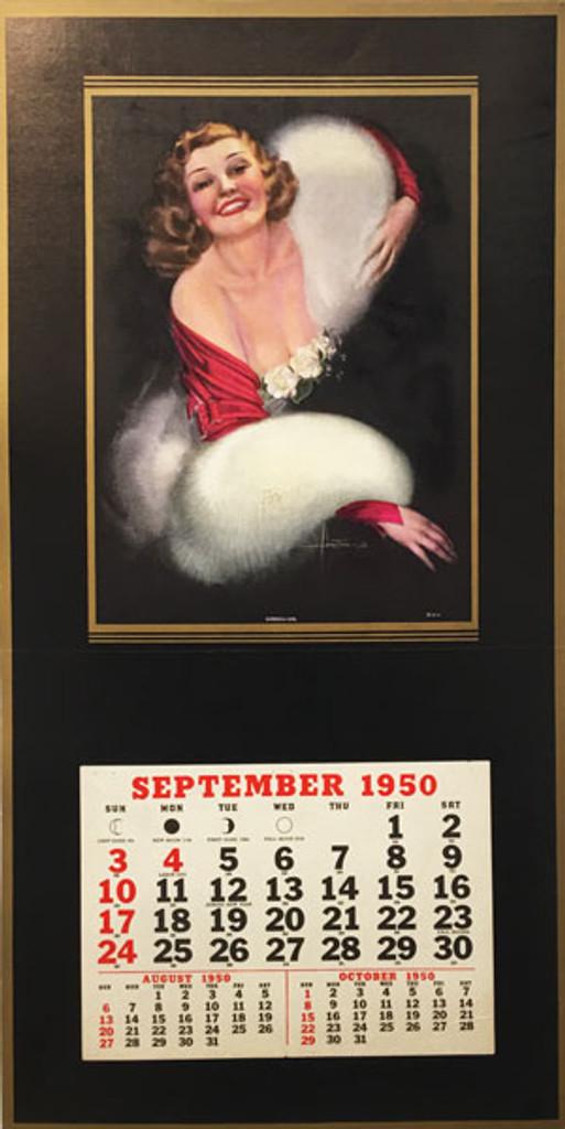 Gardenia Girl original vintage poster salesman sample with calendar form 1950 by artist Armstrong.