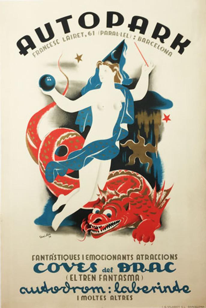 Autopark original vintage poster form 1936 by Texidon.
