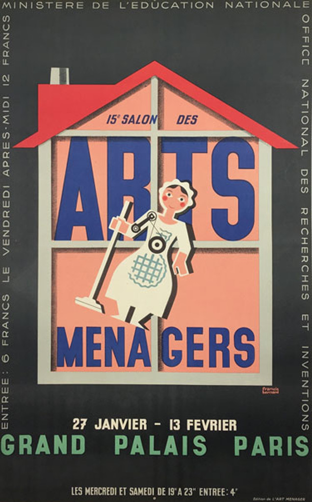 Arts Menagers original vintage poster by Francis Bernard from 1962 France.
