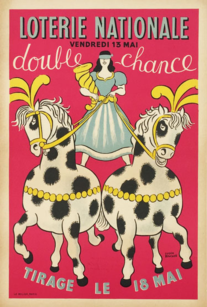 Loterie Nationale Double Chance original vintage poster from 1958 France by Lucien Boucher.