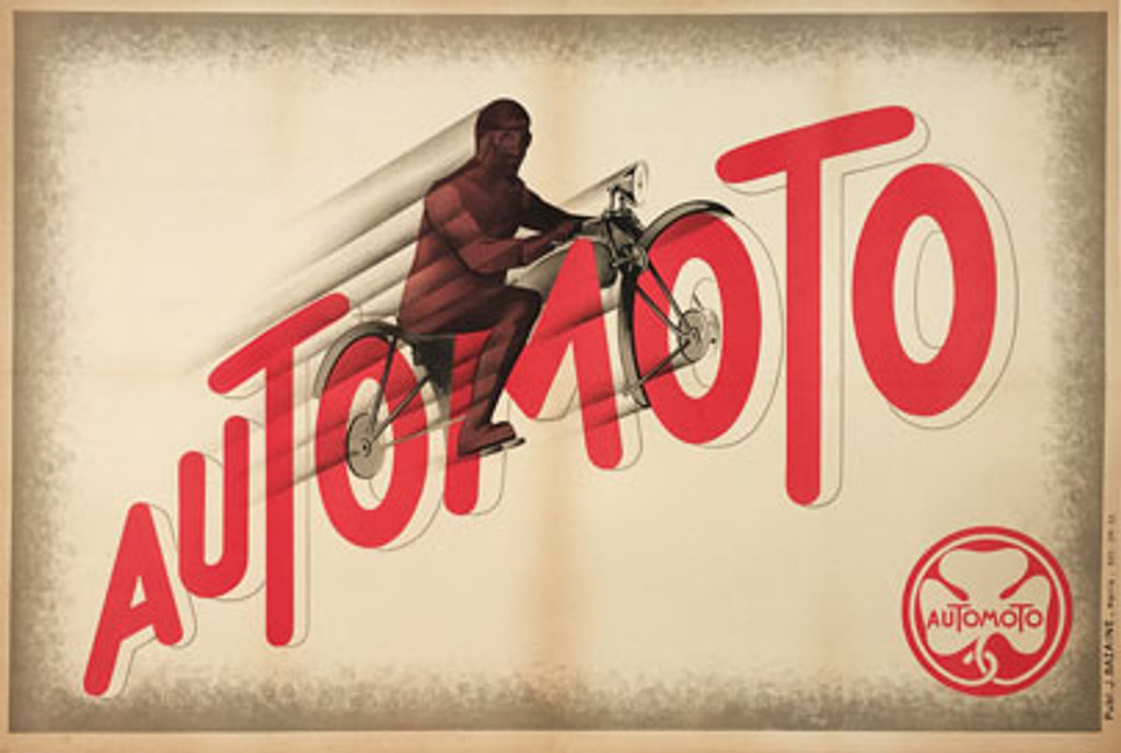 Automoto Motorcycles original vintage transportation poster by L. Cassard from 1931 France. Great art deco motorcycle advertisement.