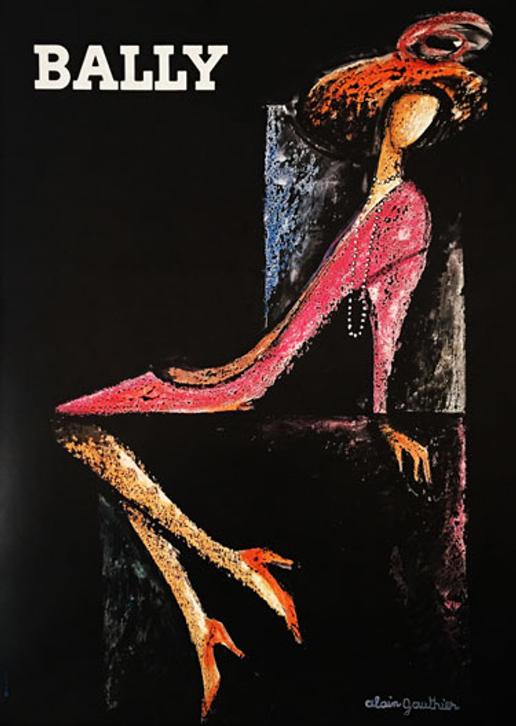 Bally (woman shoe) original French 1970 lithographic shoes advertisement by Alain Gauthier.