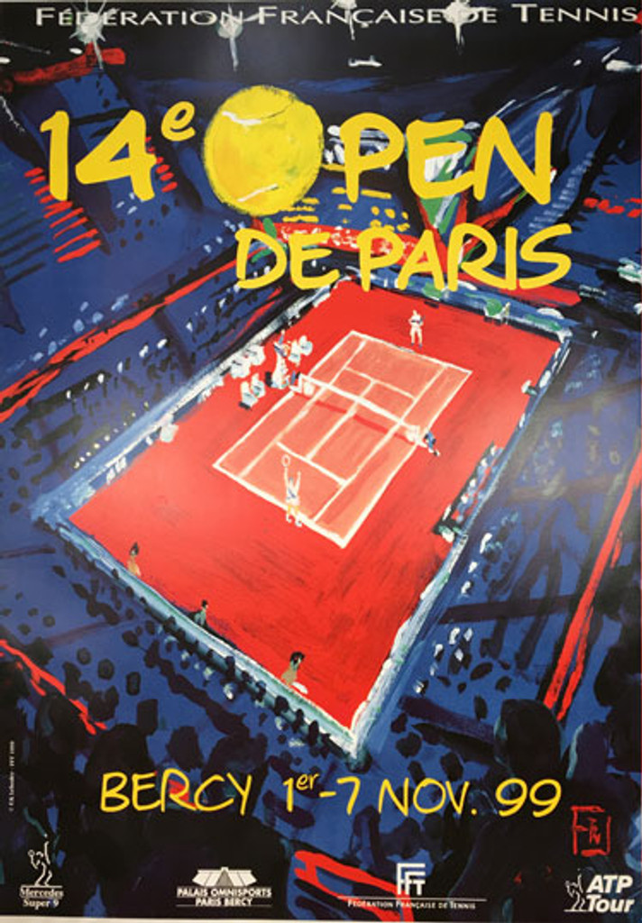 Federation Francaise De Tennis 14e Open De Paris, Bercy November 1999 original French poster by F. K. Lehoddy