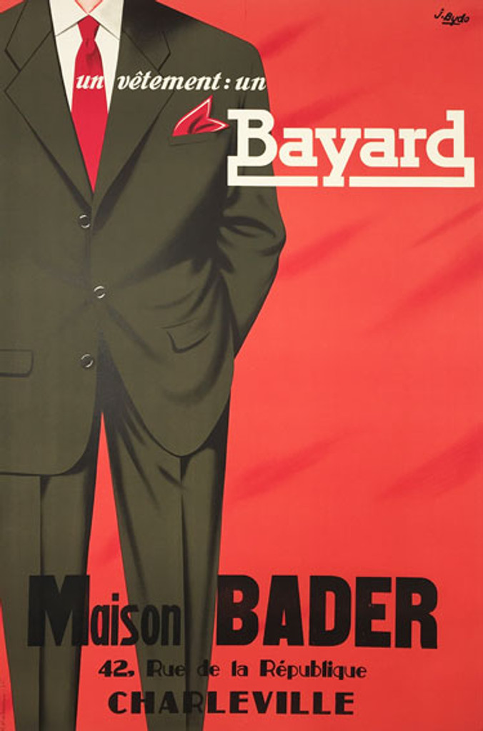 Vetement Bayard Maison Bader original vintage poster from 1954 by J. Bydo. French lithographic mens clothing company advertisement.