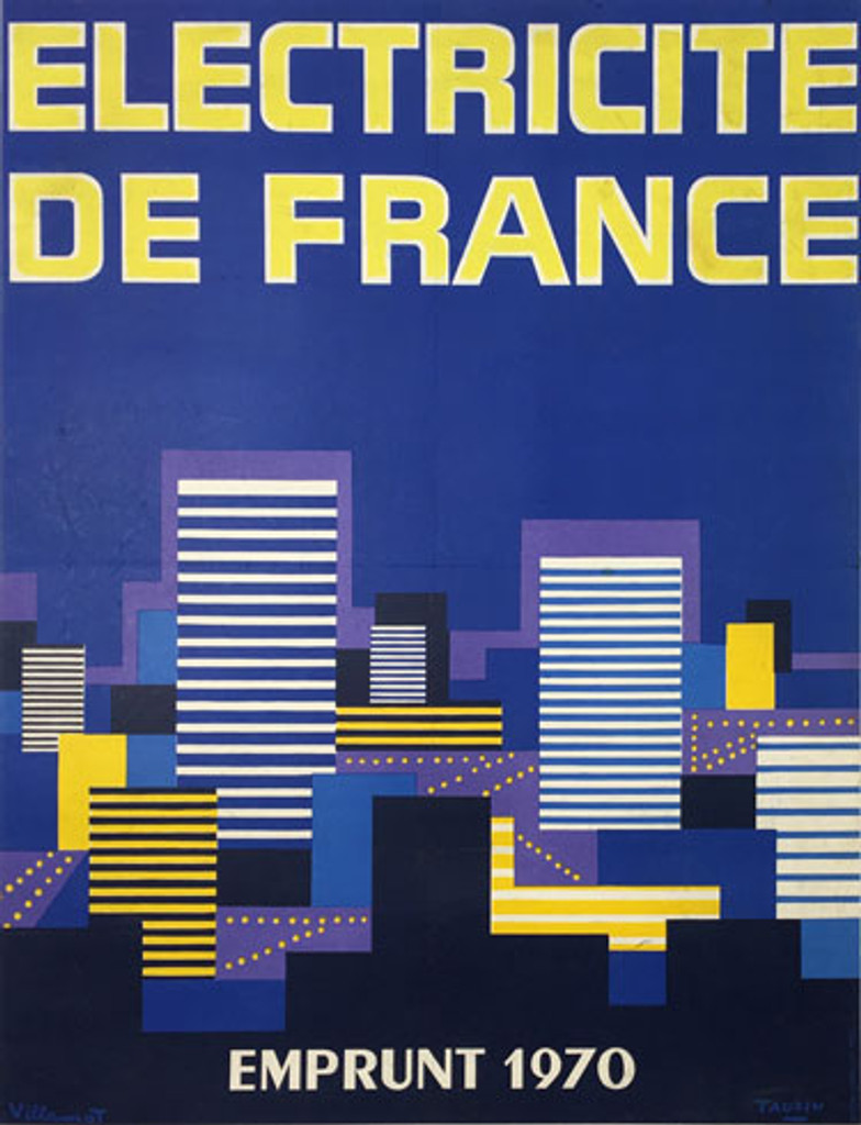 Electricite De France original vintage poster by Villemot and Tauzin from 1970 France.