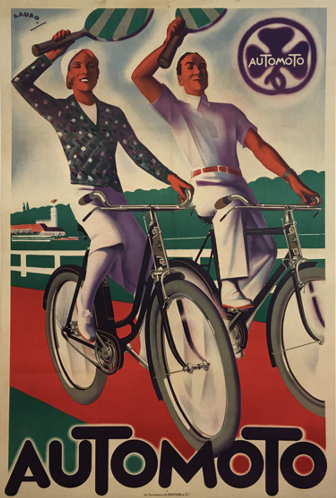 Automoto original vintage cycles motorcycles poster from 1928 France by Lauro. Great art deco transportation advertisement.
