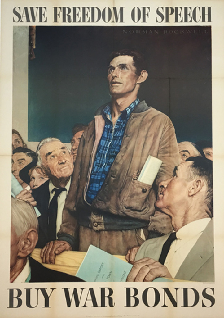 Save Freedom of Speech Buy War Bonds - Four Freedoms by Norman Rockwell - American original vintage poster from 1943.