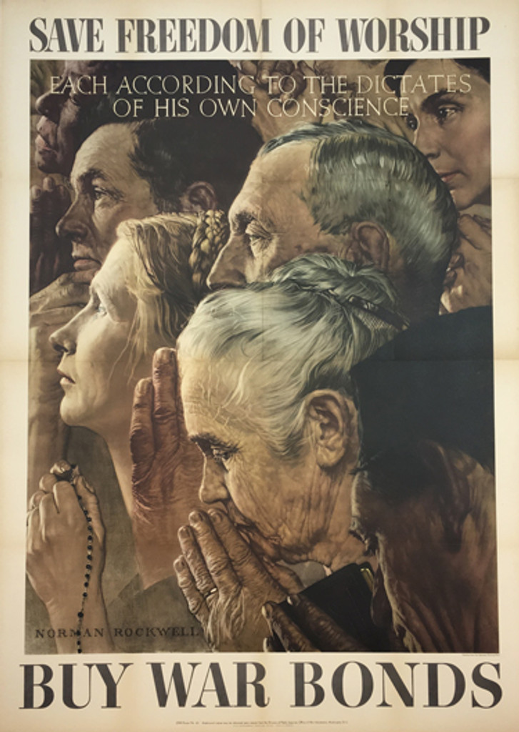 Save Freedom of Worship Buy War Bonds - Four Freedoms by Norman Rockwell - original vintage poster from 1943 USA.