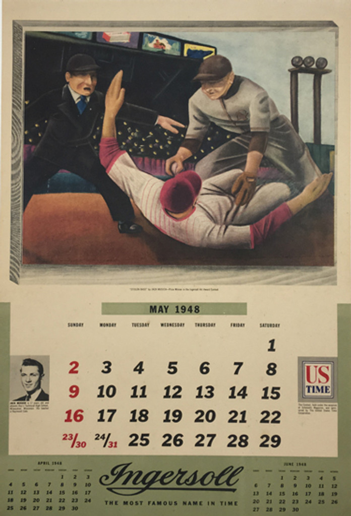 Stolen Base by J. Musich original American 1948 vintage poster with May calendar printed by Scholastic Magazine advertisement for Ingersol Art Award Contest.