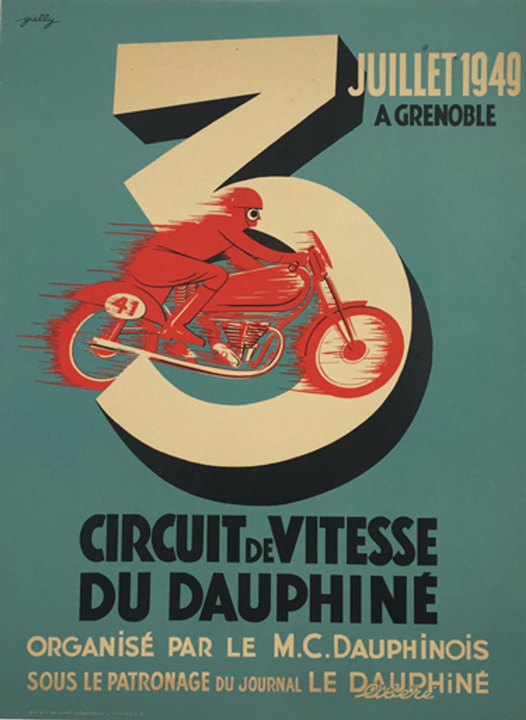 Circuit De Vitesse Du Dauphine original vintage poster from 1949 by Gielly. French motorcycles advertisement antique poster.