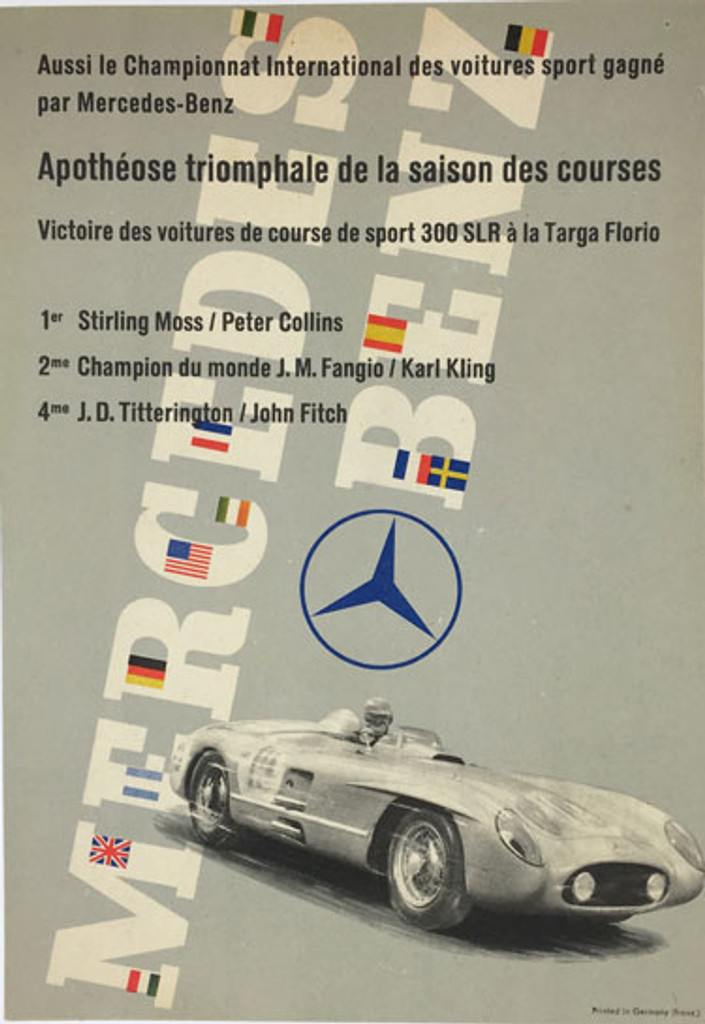 Mercedes Benz 300SLR Targa Florio Race Results poster. Original transportation vintage automotive advertisement.