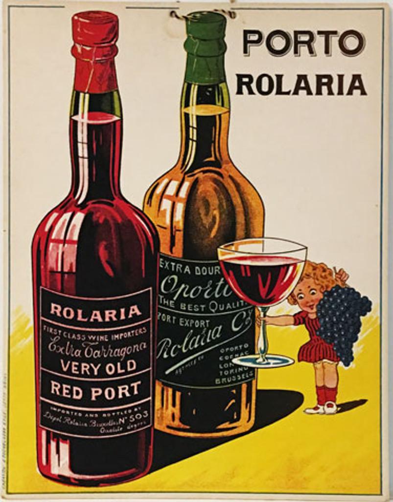Porto Rolaria (store display) original 1930 Belgium wine lithographic advertising vintage poster.