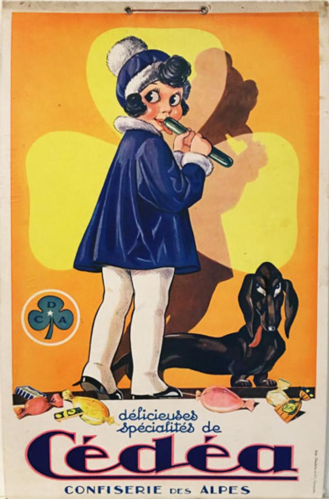 Cedea Confiserie Des Alpes (store display) original 1928 lithographic candy advertisement.