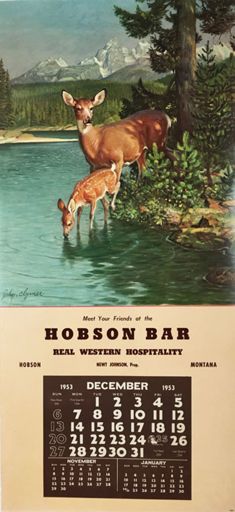 Hobson Bar real western hospitality original vintage lithographic advertisement with November, December and January calendar from 1953 by John Clymer.