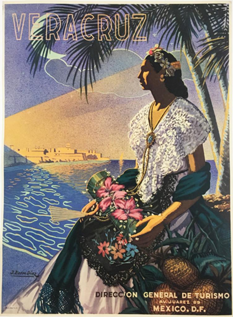 Veracruz original 1951 Mexican travel poster by T. Bueno Diaz. Plate lithograph tourism advertisement.