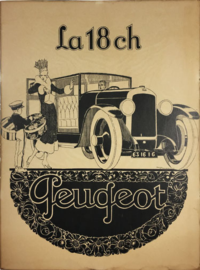 Peugeot La 18 ch original vintage automotive poster by Rene Vincent from 1926 France.