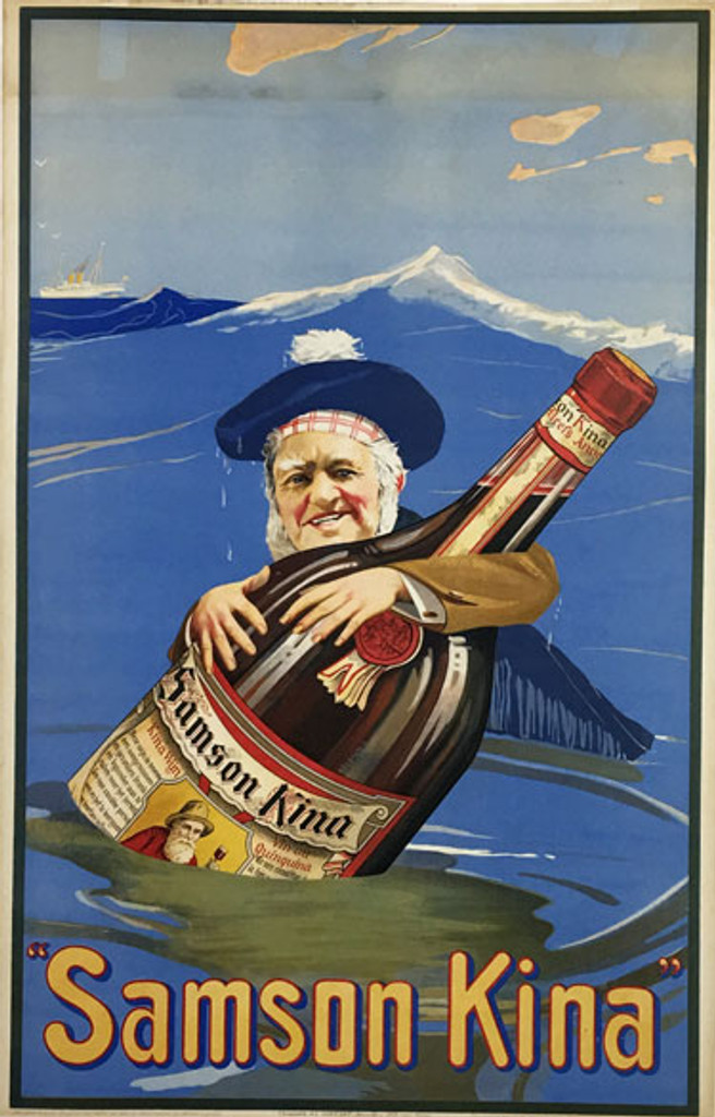 Samson Kina original Belgium vintage poster. Wine and spirits advertisement.