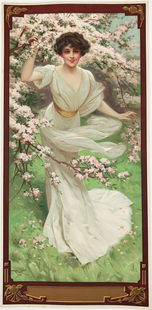 Blossoming Affection original 1905 lithographic advertisemnt vintage poster by Lucius Rossi.