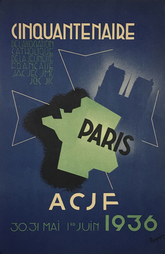 Paris ACJF original vintage poster from 1936 by Reneyre.