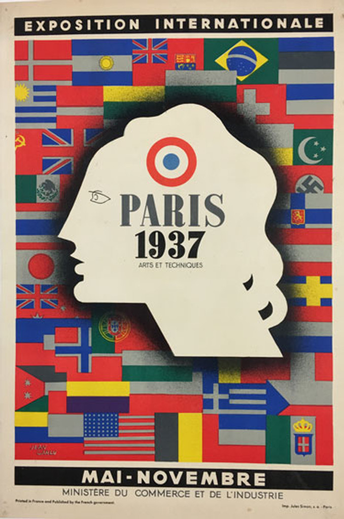 Exposition Internationale Paris 1937 original advertisement, lithographic antique poster by Jean Carlu from 1937 France.