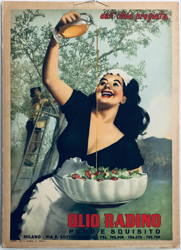 Olio Radino Italian original vintage poster (store display) from 1948 by artist Gino Boccasile. Olive oil lithographic food advertisement.