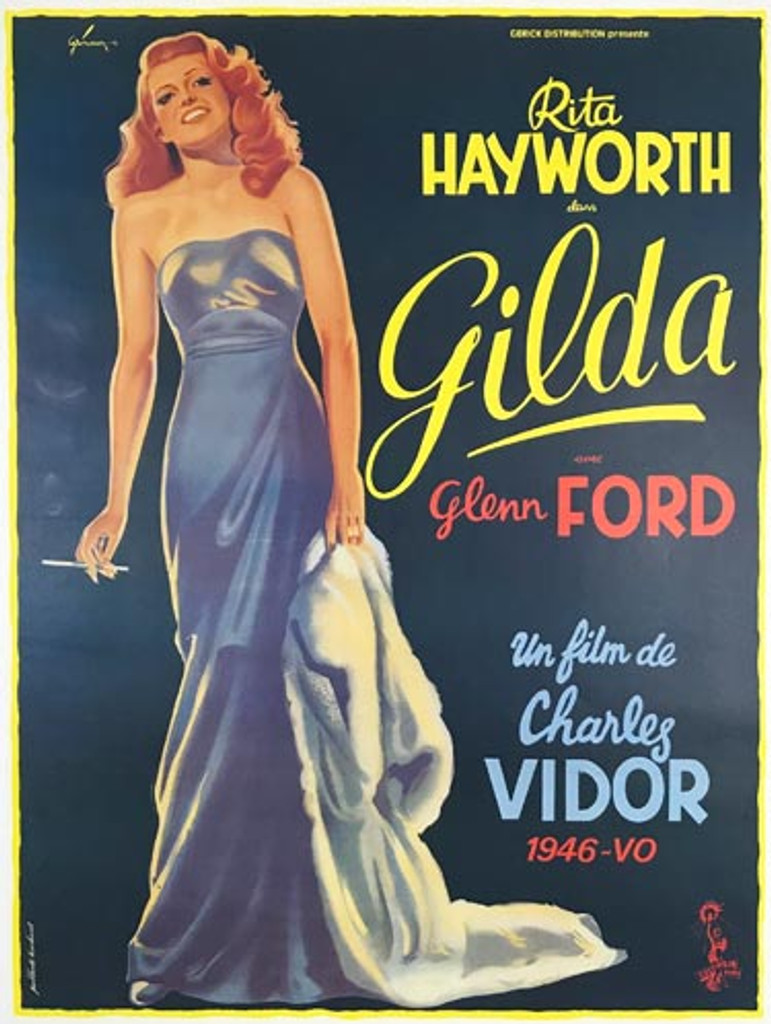 Gilda Rita Hayworth original vintage 1972 French movie pester by   Boris Grinsson.