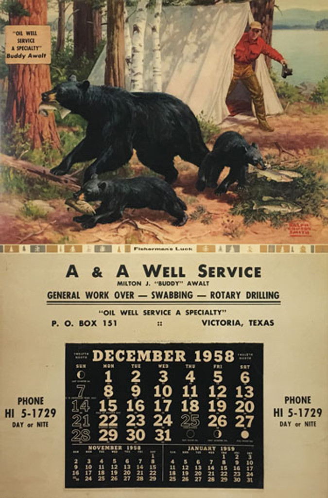 Oil Well Service A A original American vintage poster from 1958 artist Ralph Crosby Smith.