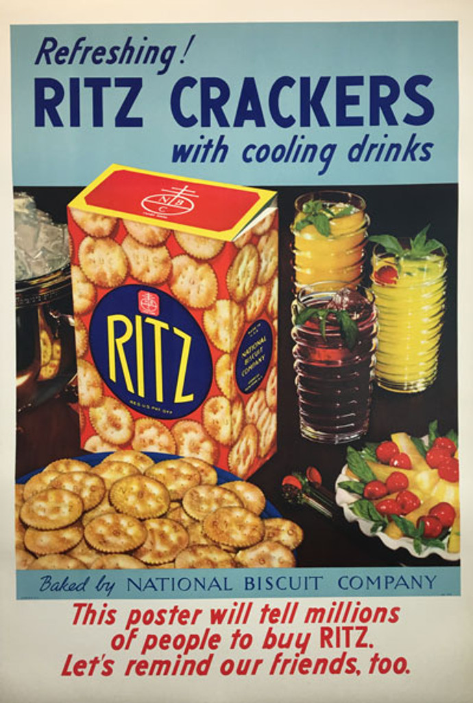 Ritz Crackers with cooling drinks original vintage food culinary poster from 1940.