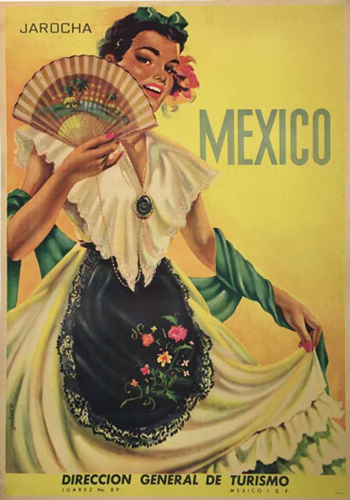 Jarocha Mexico original vintage travel poster from 1950 by A. Regaert.