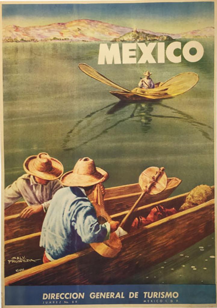Mexico Lake Chapala original vintage travel poster from 1948 by Salvador Pruneda.