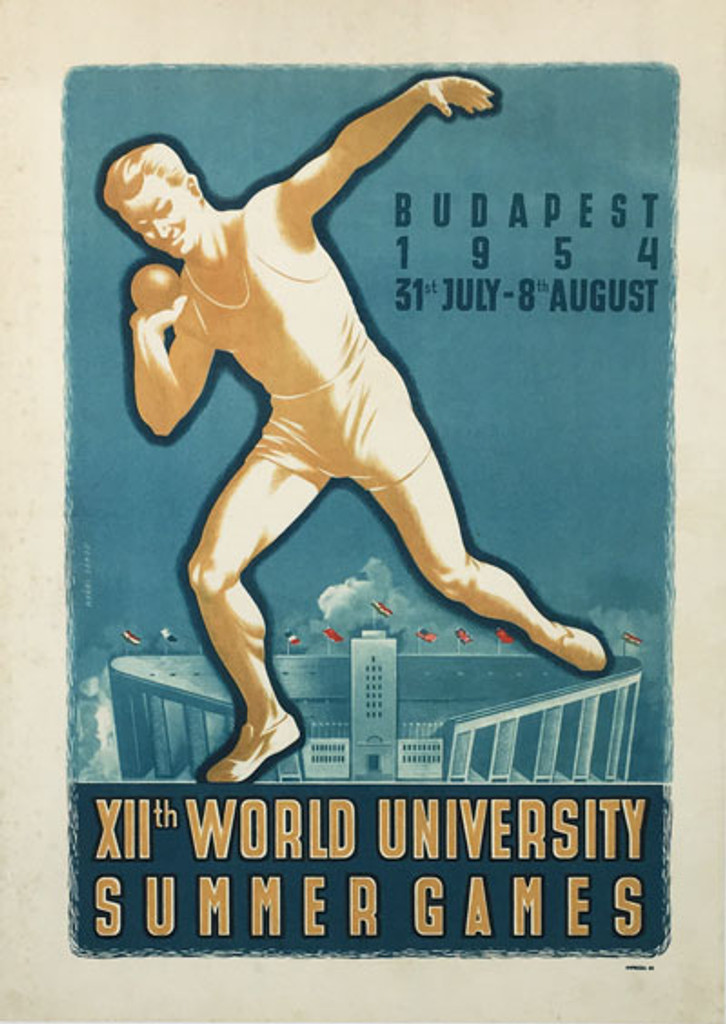 World University Summer Games Budapest original vintage poster from 1954 by Nyari Janos.