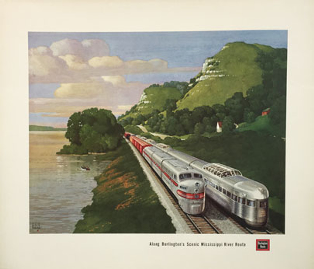 Burlington Route original vintage travel poster from 1957 by Leslie Ragan. Mississippi River Scenic Route American railroads advertisement.