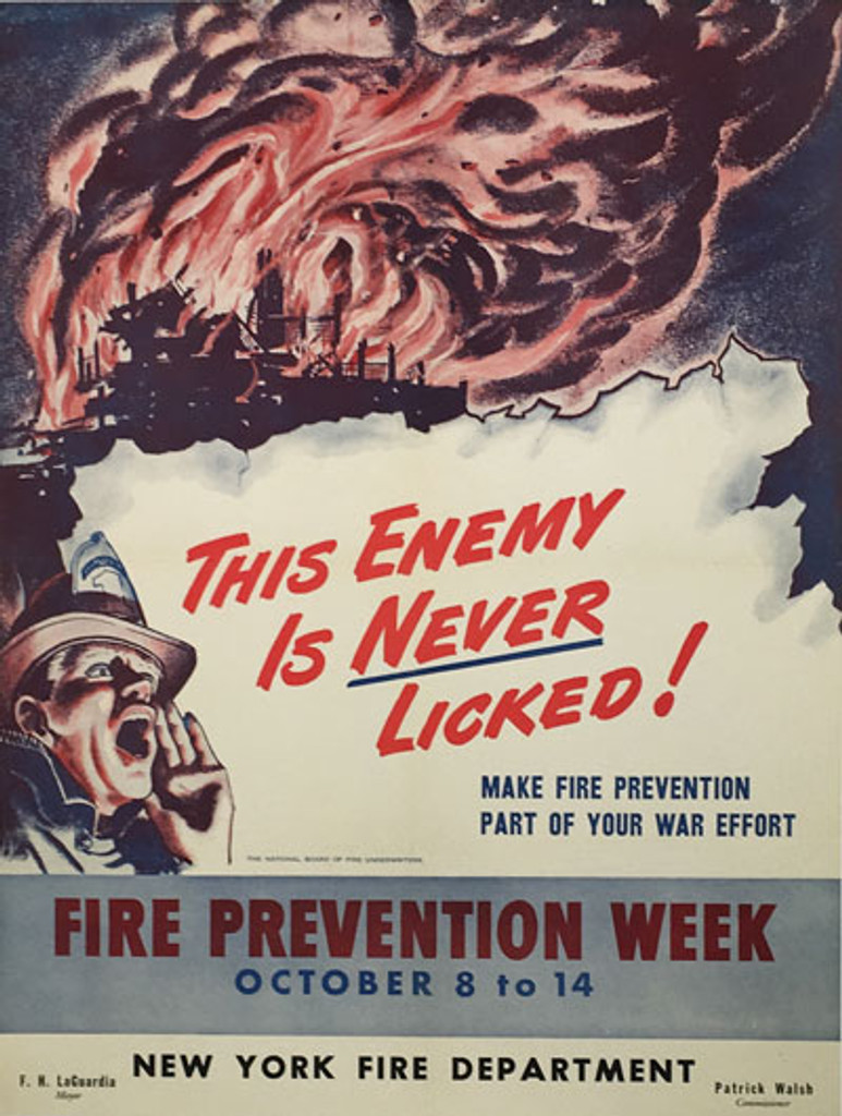 Fire Prevention Week This Enemy is Never Licked. Make Fire prevention part of your war effort. Original vintage poster from 1940 America.