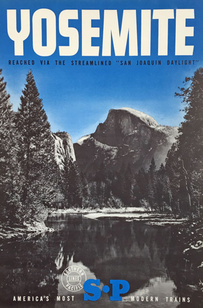 Southern Pacific Lines Yosemite original vintage travel poster from 1948. Americas most modern trains advertisement.