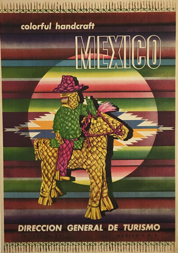 Mexico Colorful Handcraft original vintage travel poster from 1955.