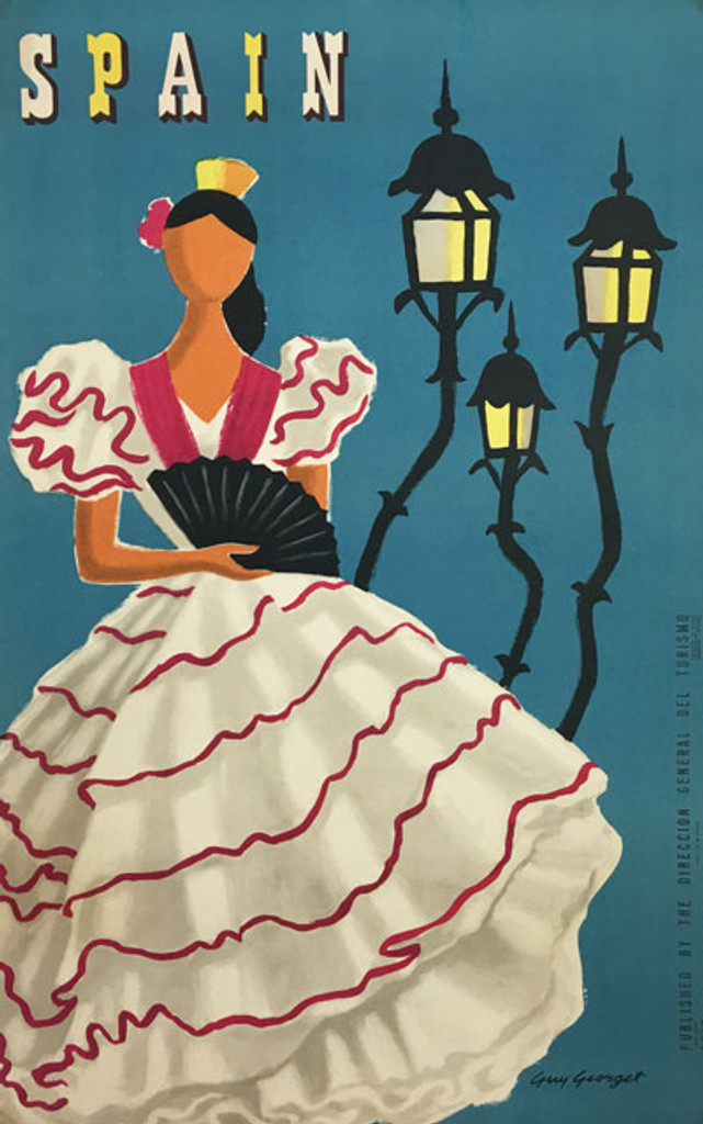 Spain original vintage travel poster from 1955 by Guy Georget.