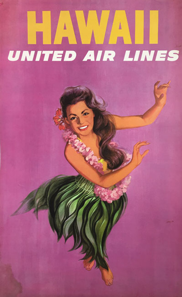 Hawaii United Air Lines original vintage poster from 1960 by Stan Galli. American travel lithographic advertisement for great travel destination.