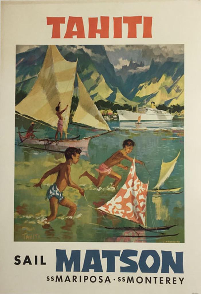 Tahiti Sail Matson Mariposa Monterey American original vintage travel poster from 1955 by L. Macouillard.