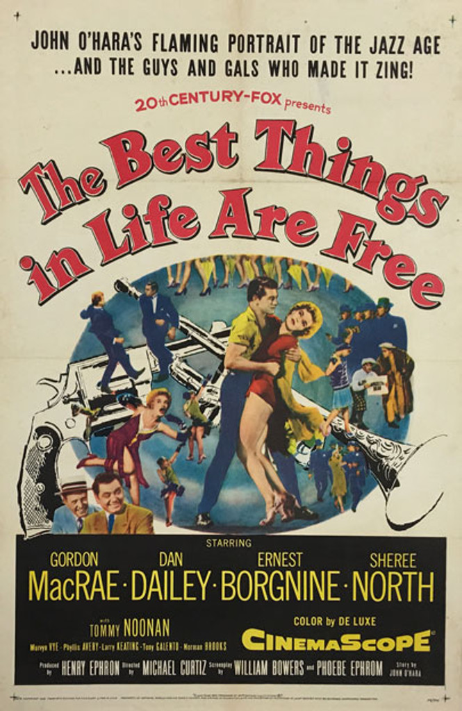 The Best Things in Life Are Free 1956 original vintage 1 sheet movie house poster display.